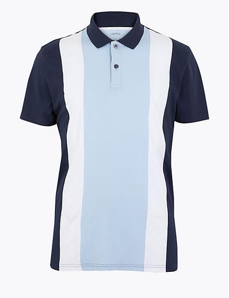 Pure Cotton Colour Block Polo Shirt