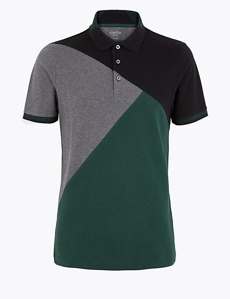 Cotton Colour Block Polo Shirt