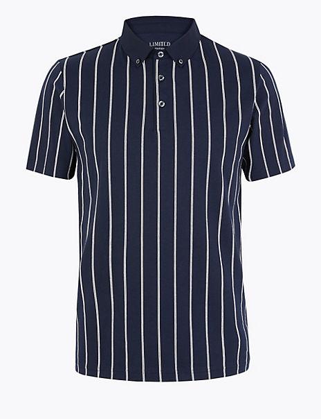 Cotton Vertical Striped Polo Shirt