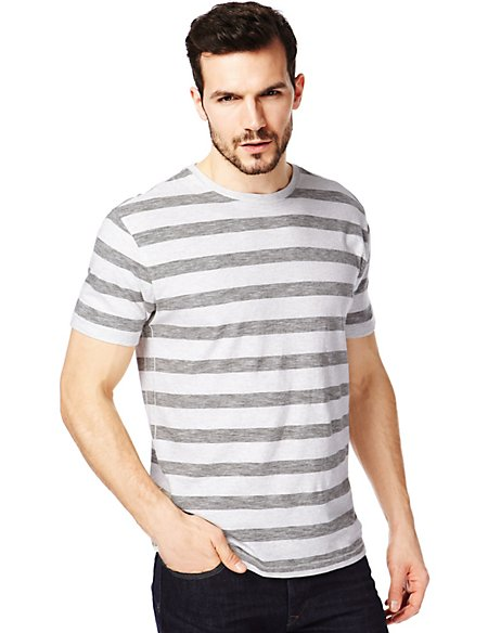 Pure Cotton Feeder Block Striped T-Shirt