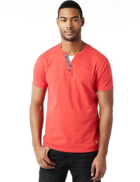 Pure Cotton Grandad Mock Layered T-Shirt