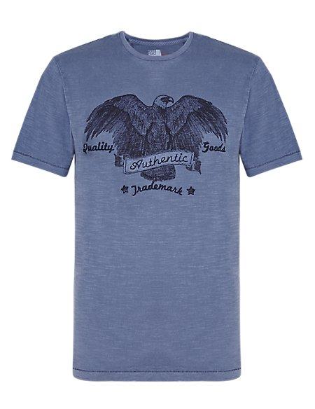 Pure Cotton Authentic Appliqué Eagle Print T-Shirt