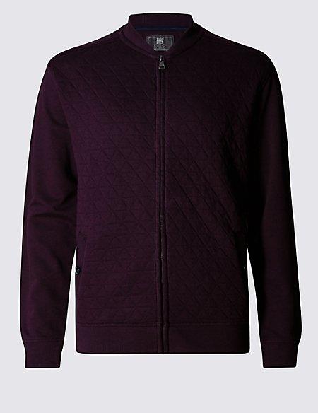 Cotton Rich Quilted Zip Through Sweatshirt