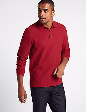 Slim Fit Pure Cotton Textured Polo shirt