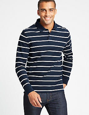 Slim Fit Pure Cotton Striped Polo Shirt
