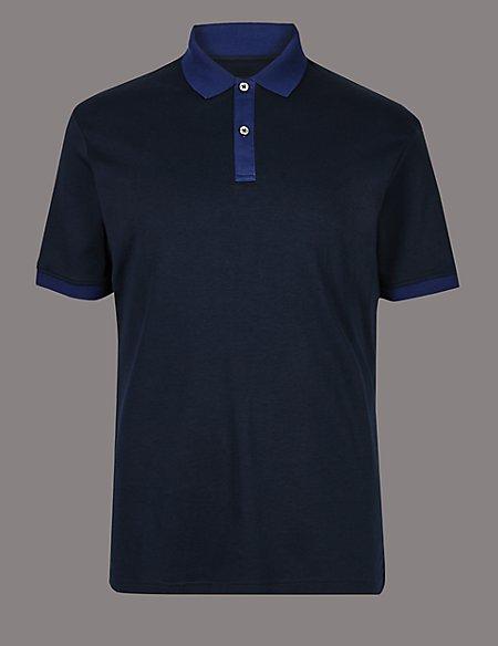 Pure Cotton Contrast Collar Polo Shirt