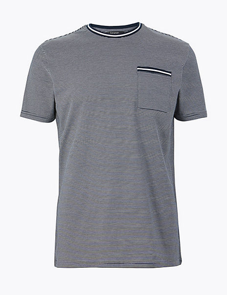 Supima® Cotton Striped Crew Neck T-Shirt