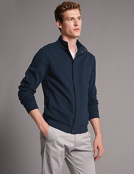 Cotton Rich Zip Through Top