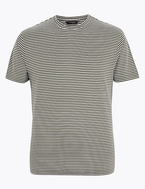 Supima® Cotton Striped Crew Neck T-Shirt
