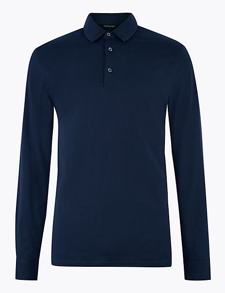 Supima Cotton Long Sleeve Polo Shirt