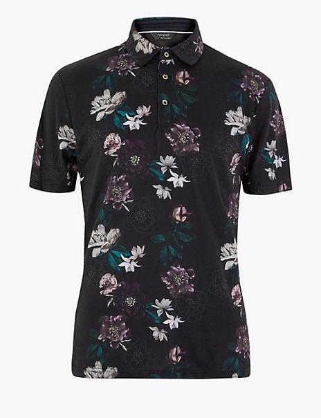 Supima® Cotton Printed Polo Shirt