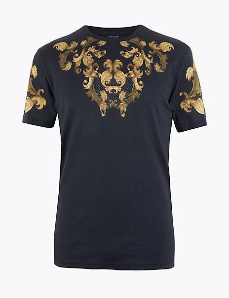 Cotton Baroque Print T-Shirt