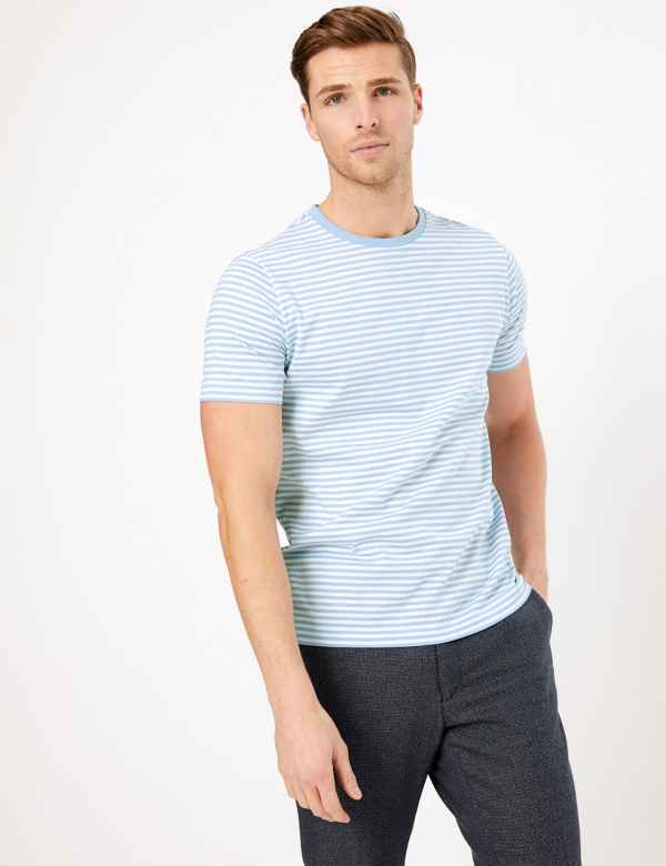 clp60371386: Supima® Cotton Striped T-Shirt
