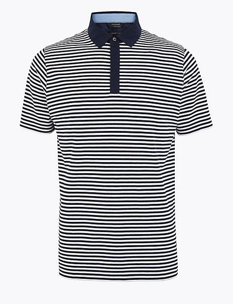 Premium Cotton Striped Polo Shirt