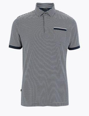 Premium Cotton Slim Fit Striped Polo Shirt