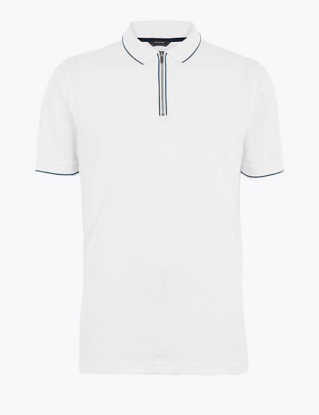 Premium Cotton Half Zip Polo Shirt