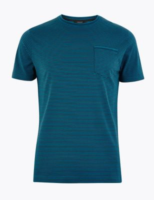 Premium Cotton Fine Striped T-Shirt