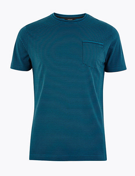 Premium Cotton Fine Striped T-Shirt