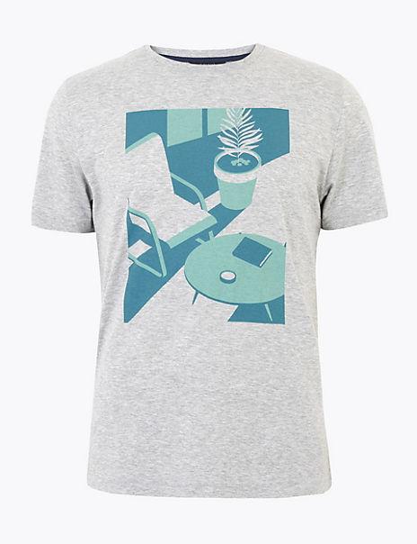 Premium Cotton Interior Print T-Shirt