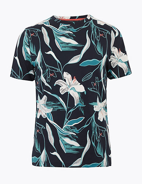Pure Cotton Slim Fit Premium Print T-Shirt