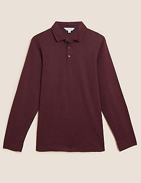 Cotton Textured Long Sleeve Polo Shirt