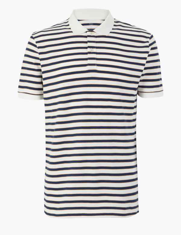 7fe566f779b9 Pure Cotton Striped Polo Shirt. M&S Collection