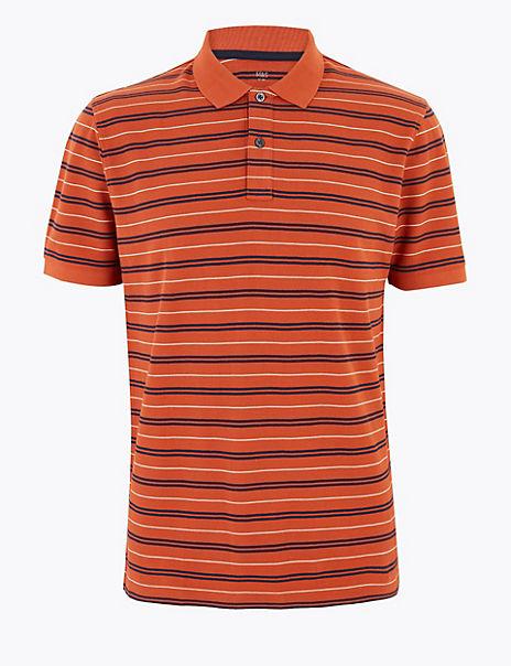 Pure Cotton Double Stripe Polo Shirt
