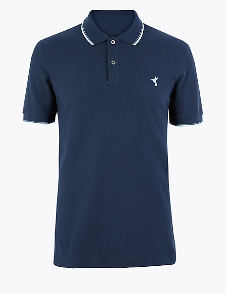 Cotton Hummingbird Motif Polo Shirt