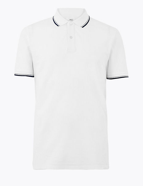 Pure Cotton Regular Fit Textured Polo Shirt