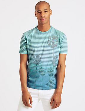 Slim Fit Cotton Blend Crew Neck T-Shirt