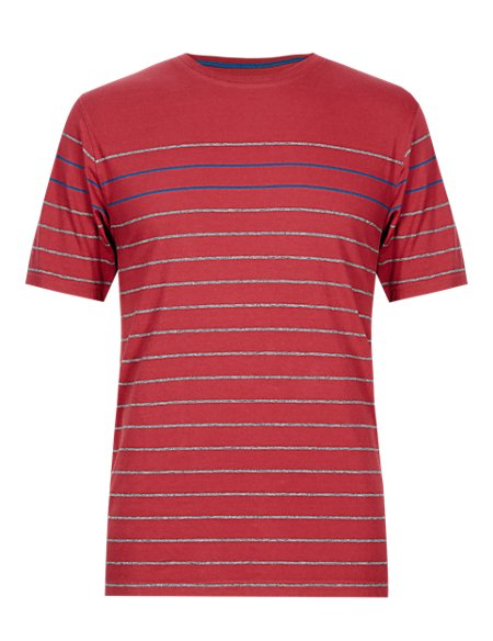 Pure Cotton Stay Soft Engineered Striped T-Shirt with StayNEW™