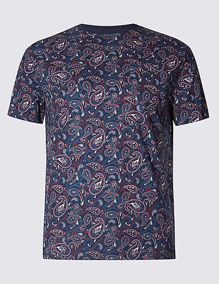 Slim Fit Pure Cotton Printed Crew Neck T-Shirt