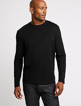 Pure Cotton Crew Neck T-Shirt, BLACK, catlanding