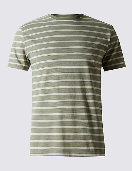 Pure Cotton Striped Stay Soft T-Shirt with StayNEW™