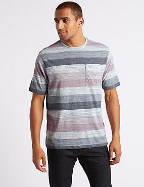 Pure Cotton Striped Crew Neck T-Shirt