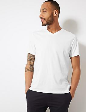Camiseta 100% algodón con escote de pico