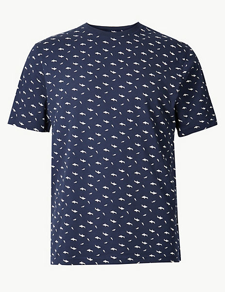 Pure Cotton Shark Print T-Shirt