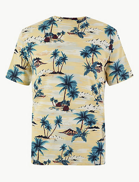 Cotton Palm Print T-Shirt