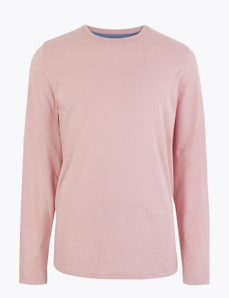 Cotton Crew Neck Long Sleeve T-Shirt