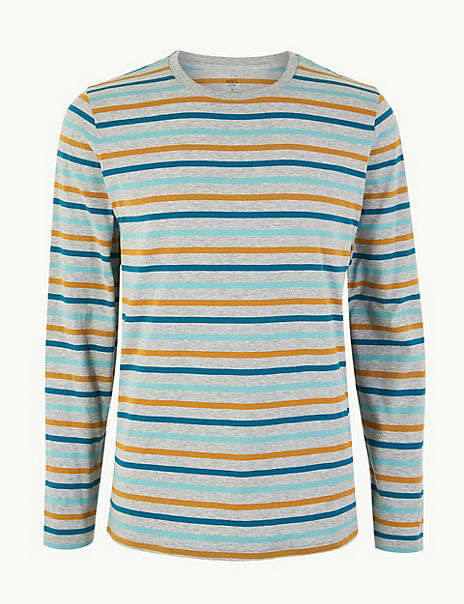 Cotton Striped Long Sleeve T-Shirt