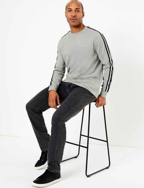 clp60290688: Cotton Striped Sleeve T-Shirt