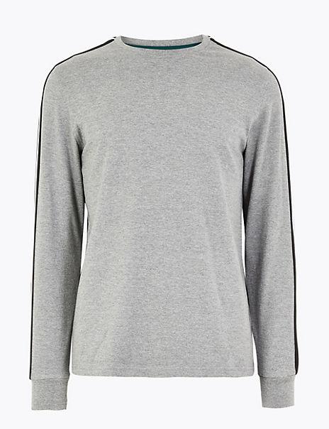 Cotton Striped Sleeve T-Shirt