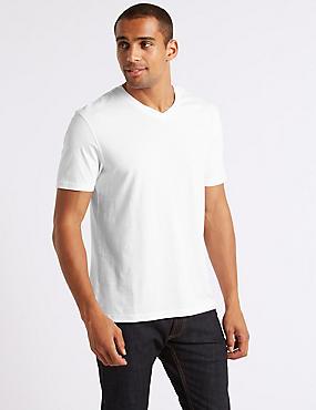 Slim Fit Pure Cotton V-Neck T-Shirt