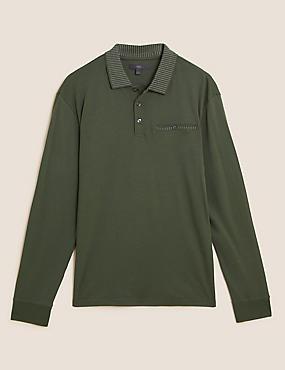 Μακρυμάνικη μπλούζα πόλο με γεωμετρικό σχήμα από 100% βαμβάκι
