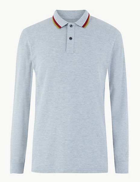 Cotton Tipped Long Sleeve Polo Shirt