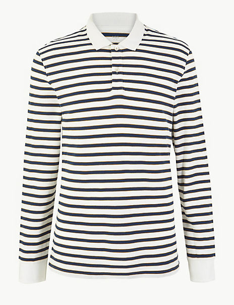 Cotton Long Sleeve Striped Polo Shirt
