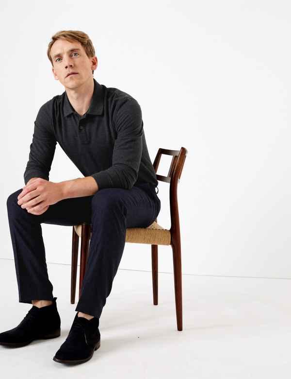 Cotton Long Sleeve Polo Shirt