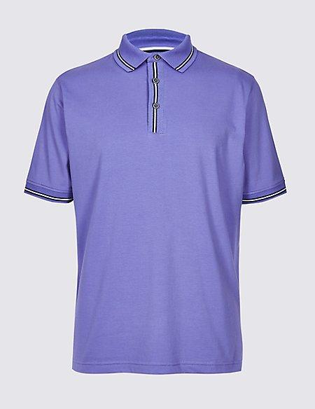 Cotton Rich Striped Polo Shirt