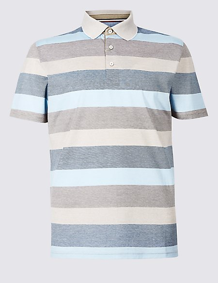 Slim Fit Pure Cotton Striped Polo Shirt
