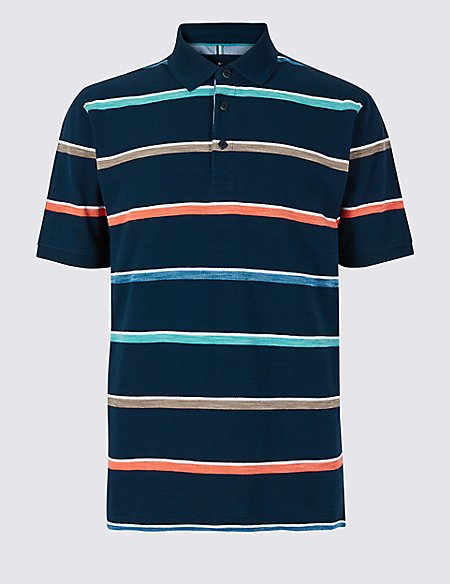 Pure Cotton Striped Polo Shirt